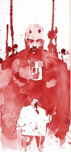 Daredevil and Kingpin Marvel Comics Art