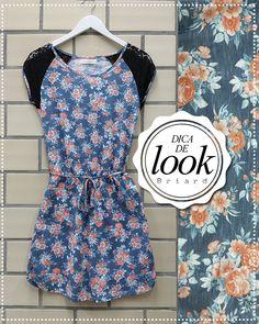 Dica de look: vestido com estampa floral, cintura marcada e detalhes de renda nas mangas   Super delicado e feminino, ideal para os dias ensolarados de primavera!  http://facebook.com/VistaBriard  #Moda #Fashion #Outfit #Ootd #Tip #Briard