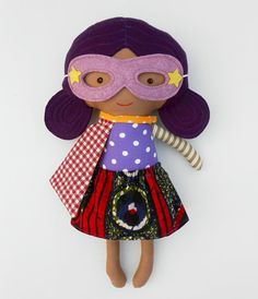 AFRICAN AMERICAN black superhero girl doll fabric by LaLobaStudio
