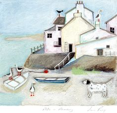 Alfie in Aberdovey (LR09) Art Print by Louise Rawlings http://www.whistlefish.com/product/lr09f-alfie-in-aberdovey-print-by-louise-rawlings-by-louise-rawlings #alfie #englishsetter #wales #aberdovey