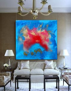 Check out Abstract Painting Print on Canvas, Blue and Red, Seascape, Abstract Ocean Art, Turquoise, Large Floral Abstract, Blue Home Decor, Red Flower on juliaapostolova