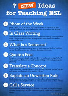 7 new ideas for teaching ESL/ELL students in your classroom. Try one of these ideas each week to see what works for you.