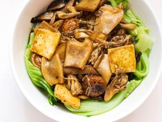 Exellent Vegetarian Mushroom Recipes Mushrooms And Tofu With Chinese Mustard Greens Recipe within ucwords] Chinese Mustard Greens Recipe, Chinese Greens, Vegetarian Mushroom Recipes, Vegetarian Food, Stuffed Mushrooms, Stuffed Peppers, Dried Mushrooms, Asian Recipes, Ethnic Recipes