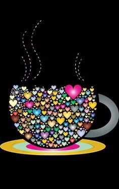 Nice colors, thank you Daizo💗💙💘 - Bilder - Coffee I Love Coffee, My Coffee, Morning Coffee, Good Morning, Monday Coffee, Tuesday Morning, I Love Heart, My Heart, Coffee Cafe