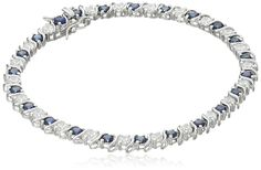 Platinum-Plated Sterling Silver Cubic Zirconia and Created Blue Sapphire Tennis Bracelet, 7.25' -- Click image for more details. (This is an affiliate link and I receive a commission for the sales)