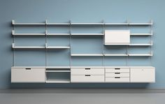 606 universal shelving system, 1960, manufacturer: Vitsœ, design by Dieter Rams.