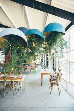 The quirky greens installations we did for Marlene and Charl at the Modern Heirloom. Photo by Stephanie Veldman Hanging Flower Arrangements, Hanging Flowers, Patio, Outdoor Decor, Modern, Home Decor, Trendy Tree, Decoration Home, Room Decor