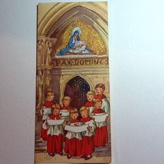 #351- Vintage Brownie Gold Embossed Xmas Greeting Card, Choir Boys Singing | eBay