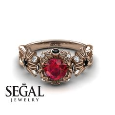 Unique Engagement Ring 14K Red Gold Flowers And Branches Art Deco Edwardian Ring Ruby With Black Diamond - Katherine #engagementrings #engagement #rings #floral #flower #wedding #diamond