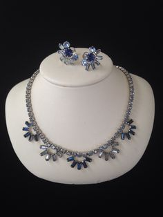 Vintage Sherman Blue Necklace and Earrings Set-Vintage Rhinestone Necklace Set-Sherman Screw Back Earrings-Made In Canada by LadyLuckVintageShop on Etsy https://www.etsy.com/listing/270654717/vintage-sherman-blue-necklace-and