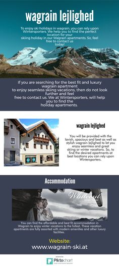 You will be provided with the lavish, spacious and best as well as stylish wagrain lejlighed to let you enjoy seamless and great skiing or winter vacations. So, to find the desired apartments at best locations you can rely upon Wintersporters. Winter Vacations, Ski Vacation, Ski Holidays, Best Location, Apartments, Skiing, Luxury, Stylish, Amazing