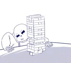 "rei-drome: "" ""Day 2: Games "" Happy Cheer Up the Skeleton Week! I didn't do anything yesterday so I made a quick gif for today :D I feel like Sans would be amazing at jenga. Based off of this vine. """