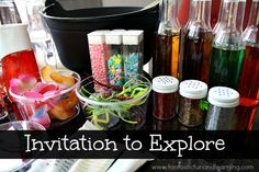 Collect items around your home and set up a Mixing Potions Lab for little scientists to explore