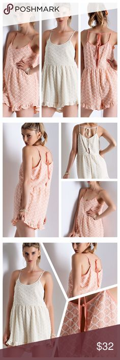 LACE RUFFLED ROMPERS! Diamond patterned, lace ruffled rompers featuring open back with keyhole detail. Cute straps tie in back. Partially lined, non sheer, woven, lightweight. 60% nylon, 30% polyester. 10% spandex. tla2 Pants Jumpsuits & Rompers