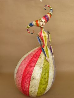 "Now there's one colourful character who knows how to to be ""Belle of the Ball""! Paper Mache Clay, Paper Mache Sculpture, Clay Art, Paper Art, Paper Crafts, Deco Originale, Painted Gourds, Paperclay, Gourd Art"