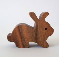 Miniature Bunny Rabbit Waldorf Wood Toy Easter Basket Hand Cut Scroll Saw