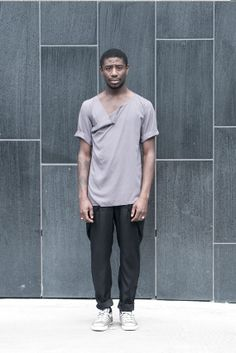 Grey tshirt asymmetric draped neckline by molotovclothing on Etsy.