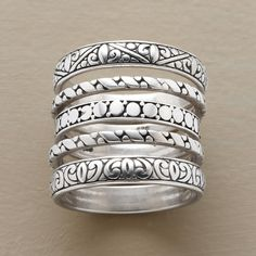 """ENCHANTMENT RING QUINTET--A handmade sterling silver ring set of five, each band hand cast with a different motif based on Victorian carvings. Whole sizes 5 to 10. Approx. 1/2"""" wide worn together."""