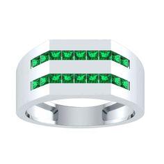 1 ct Emerald Mens Engagement Wedding Ring in 14kt Gold Over Silver   RegaaliaJewels  MensRing 4c75ef1909e