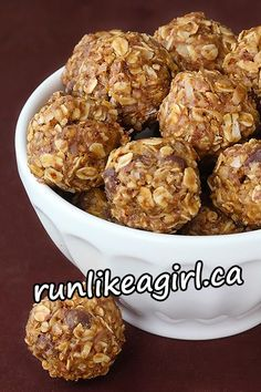 No-Bake Peanut Butter Energy Bites – Grab and go snack! Swap out the peanut butter for Almond butter - might have to still use the oats though....