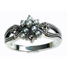 Star Gaze Silver Natural Seed Pearl Ring Size 7 - by Dahlia Vintage Jewelry Collection