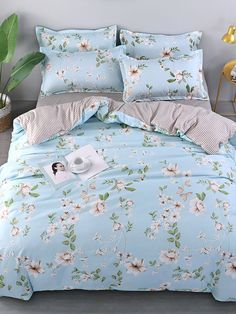 Flower & Grid Print Duvet Cover For Women-romwe Matching Bedding And Curtains, Bedding Sets, Girls Bedroom, Bedroom Decor, Dream Rooms, Home Textile, Textile House, Bed Covers, Bed Spreads