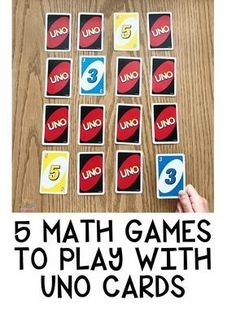 5 Math Games To Play with UNO Cards #math #mathgames #cardgames #kindergarten #summergames