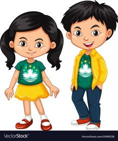 Happy boy and girl wearing shirt with flag of vector image on VectorStock Cartoon Drawings Of People, Cartoon People, Cartoon Pics, Macau, Student Clipart, Boy And Girl Drawing, Victorian Frame, Islam For Kids, Human Drawing