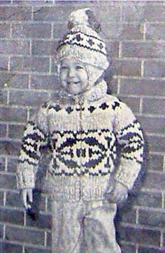 COWICHAN Sweater Knitting Pattern Children Snowflake design outdoors from…