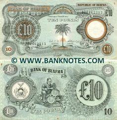 Biafra 10 Pounds (1968-69) -  Front: Palm tree. Rising sun. Back: Arms of Biafra. Carver carving. Predominant colour: Blue. Signatures: Sylvester U. Ugoh (Governor); Director.
