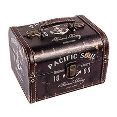 "Amazon.com: WaaHome Wood Treasure Chest Antique Ocean Boat Anchor Treasure Jewelry Keepsake Box for Home Decor,7.1""X5.6""X4.7"": Home & Kitchen"
