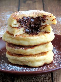 Cottage Cheese Pancakes With Chocolate Filling | http://YummyAddiction.com