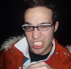 Pete wearing Mikey's glasses