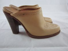 1970s ZODIAC Tan Leather Western Style Slip On Mules Shoes Clogs Size 7 by petgirlvintage on Etsy https://www.etsy.com/listing/211425787/1970s-zodiac-tan-leather-western-style