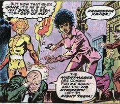 Professor Xavier, Firelord, Misty Knight, Elaine Grey, and John Grey. (X-Men Vol.1 #106)