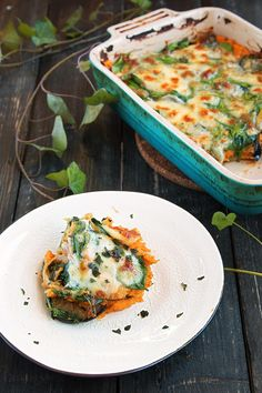 Vegetarian Lasagna - Sweet potato mix, Eggplant, spinach topped with mozzarella and parmesan cheese. Easy, healthy and delicious!