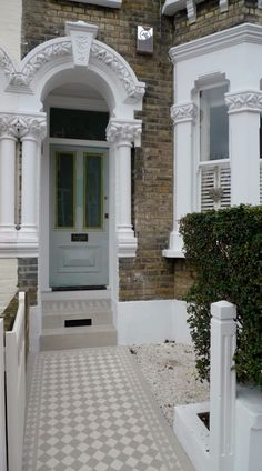 grey and white classic victorian mosaic tile path battersea london