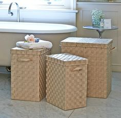Beau Superb Quality Slim Laundry Bins With Lid In 3 Practical Sizes And 4 Stylish  Colours.