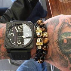 Black Genuine Leather Double Skeleton Skull Charm Bracelet For Men Gift Magnet Punk Rock Jewelry
