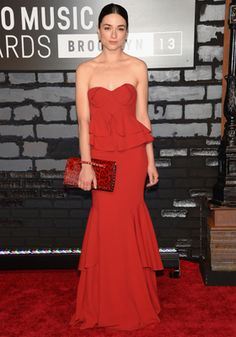 Crystal Reed Zac Posen Red Gown - MTV VMAs 2013: Best Celebrity Red Carpet Style
