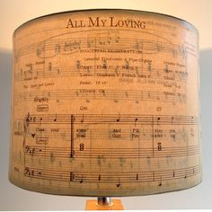 Beatles Sheet Music lamp shadesI  I would like to do this with a wooden or metal tray and use sheet music for a fav song.