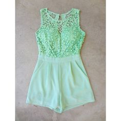 Stillwater Lace Romper ($42) ❤ liked on Polyvore featuring jumpsuits, rompers, lace rompers, playsuit romper, green romper, open back romper and open back rompers