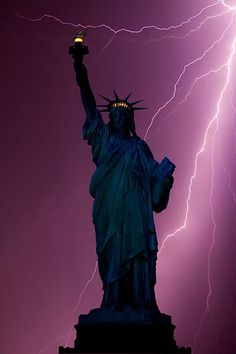 Lightning hits the Statue of Liberty in New York City
