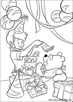 Winnie the Pooh coloring picture for  a coloring station at the party