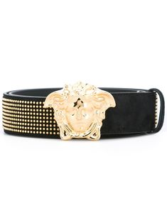 Shop Versace Black from stores. Black and gold-tone chamois leather 'Palazzo Medusa' studded belt from Versace featuring a gold-tone logo plaque, punch hole detailing and a gold-tone stud detailing. Studded Belt, Versace Men, Hole Punch, Medusa, Palazzo, Mens Fashion, Detail, Gold, Leather