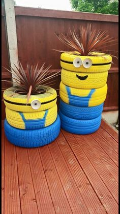 so cute for the deck made out of tires the minions so despicable me!