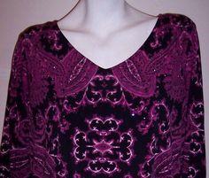 Alfani Top S Paisley Boho Stretch Knit Rhinestone Tunic Shirt Women's Small #Alfani #KnitTop #Casual