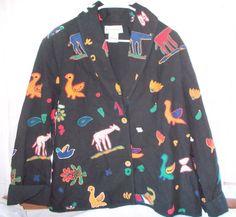 Jacqueline Lauren Animal Print Black Jacket Size Large #JacquelineLauren #BasicJacket