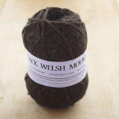 Pure Black Welsh Mountain Aran knitting yarn