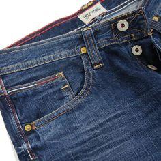 Close up Detail - Hilfiger Denim Mens Wilson Jeans LA Mid Blue Rigid